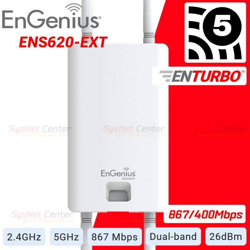 Engenius ENS620EXT MU-MIMO Wave 2 Accees Point แบบ Outdoor Dualband 2.4/5GHz Wireless AC 867Mbps Wireless AccessPoint (กระจาย...
