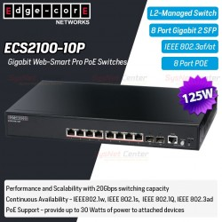 Edgecore ECS2100-10P L2-Managed Gigabit POE Switches 8 Port, 2 SFP, POE 125W Switches เชื่อมเครือข่ายแบบสาย