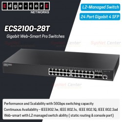 Edgecore ECS2100-28T L2-Managed Gigabit Web-Smart Pro Switches 24 Port, 4 Port SFP Switches เชื่อมเครือข่ายแบบสาย