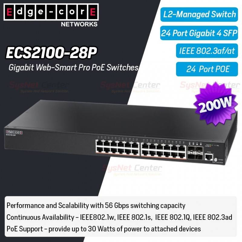 Edgecore ECS2100-28P L2-Managed Gigabit POE Switches 24 Port, 4 SFP, POE 200W Switches เชื่อมเครือข่ายแบบสาย