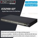 Edgecore ECS2100-52T L2-Managed Gigabit Web-Smart Pro Switches 48 Port, 4 Port SFP Switches เชื่อมเครือข่ายแบบสาย