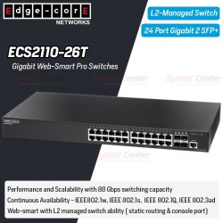 Edgecore ECS2110-26T L2-Managed Gigabit Web-Smart Pro Switches 24 Port, 2 Port SFP+ Switches เชื่อมเครือข่ายแบบสาย