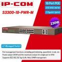 IP-COM S3300-18-PWR-M Web Smart PoE Switch 16 Port 100Mbps, 2 Port Gigabit, POE 230W Switches เชื่อมเครือข่ายแบบสาย