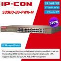 IP-COM S3300-26-PWR-M Web Smart PoE Switch 24 Port 100Mbps, 2 Port Gigabit/SFP POE 370W Switches เชื่อมเครือข่ายแบบสาย