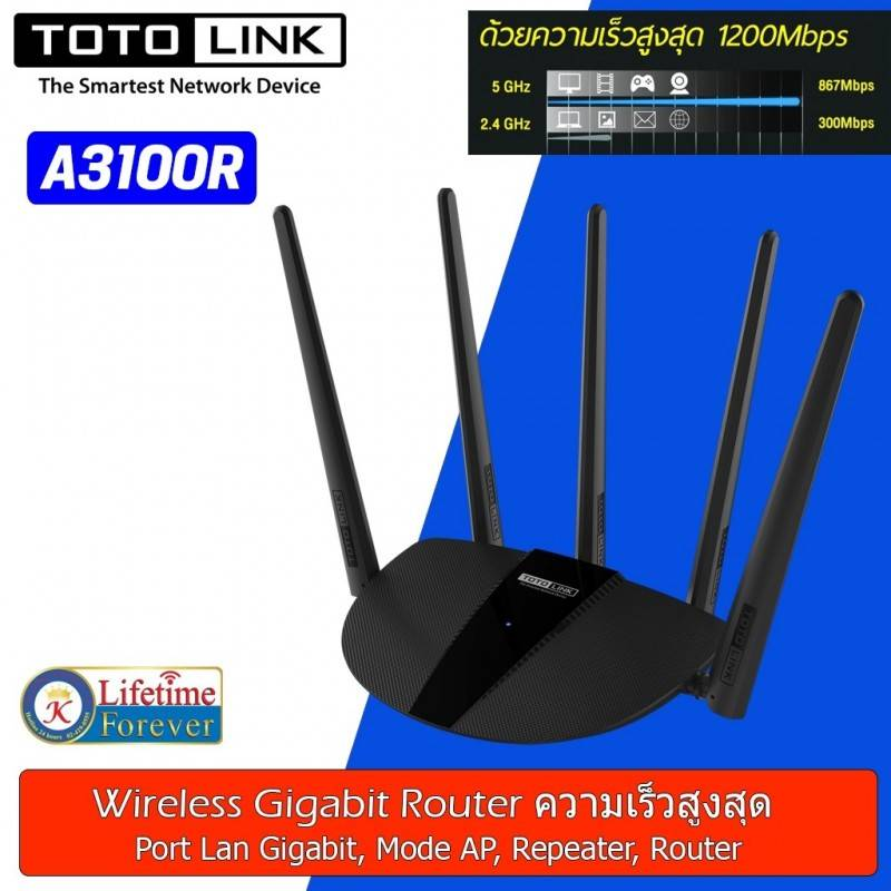 TOTOLINK A3100R AC1200 MU-MIMO Wireless Dual Band Gigabit Router 2.4/5GHz 1200Mbps, 2 Port Gigabit Wireless AccessPoint (กระจ...