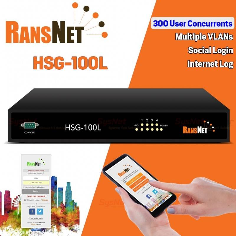 RANSNET HSG-100L HotSpot Gateway Authentication 300 Concurrents, Social Login, VLAN ระบบ Hotspot จัดเก็บ Log