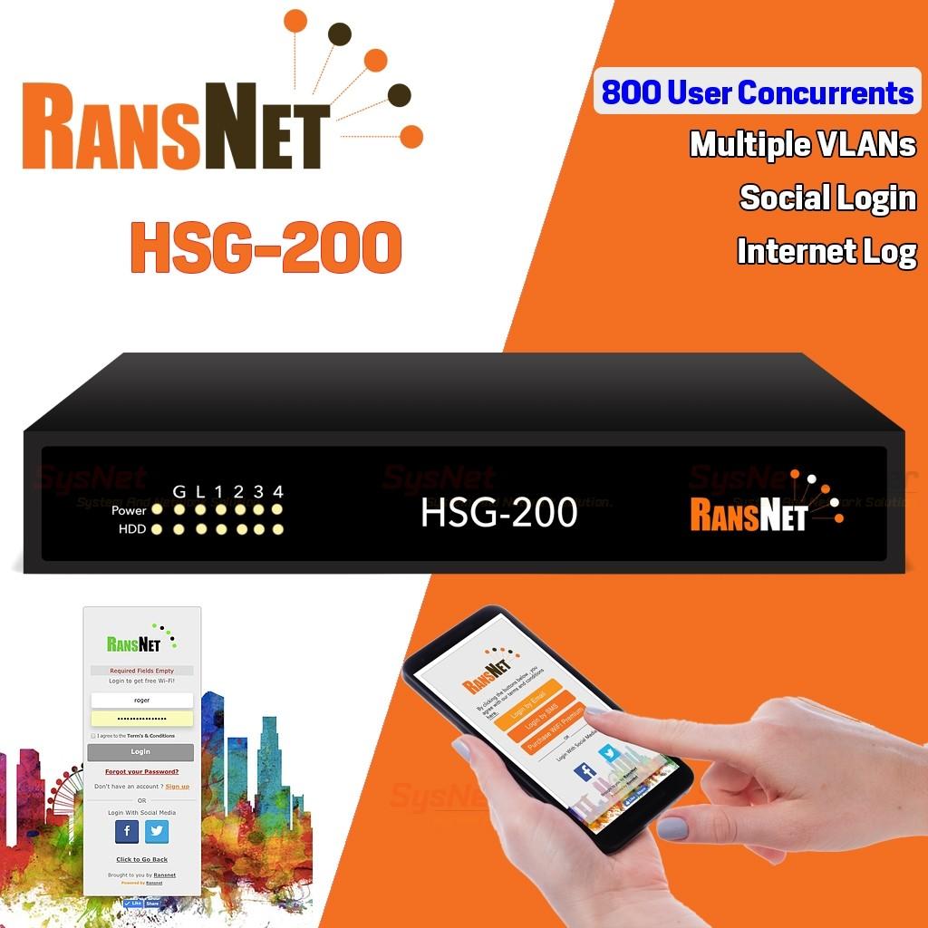 RANSNET HSG-200 HotSpot Gateway Authentication 800