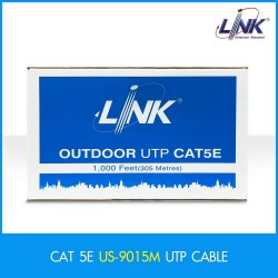 LINK US-9015M CAT 5E UTP PE OUTDOOR แบบมีสลิง w/Drop Wire (Single Jacket) Black 305 M./Reel สายนำสัญญาณ Network Cable & Tools