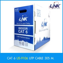 LINK US-9106 CAT6 UTP (250 MHz) w/Cross Filter, 23 AWG, CMR ความยาว 305 เมตร สาย LAN แบบ Cat 6