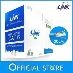 LINK US-9106A CAT6 UTP (250 MHz) w/Cross Filter, 24 AWG, CM Blue ความยาว 305 เมตร/กล่อง สายนำสัญญาณ Network Cable & Tools