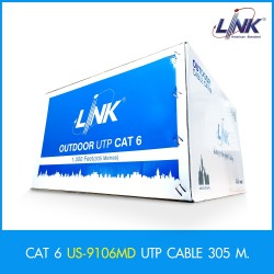 LINK US-9106MD CAT6 UTP PE Outdoor Cross Filter, 23 AWG, Drop Wire, Double Jacket 305M สายนำสัญญาณ Network Cable & Tools