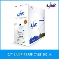 Link US-9116 CAT6 UTP Cable ULTRA (600MHz) with Cross Filler , 24 AWG CMR สายนำสัญญาณ Network Cable & Tools