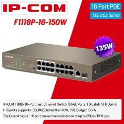 IP-COM F1118P-16-150 POE Switch 16 Port,1 Port Uplink Gigabit/SFP, POE 802.3at 135W