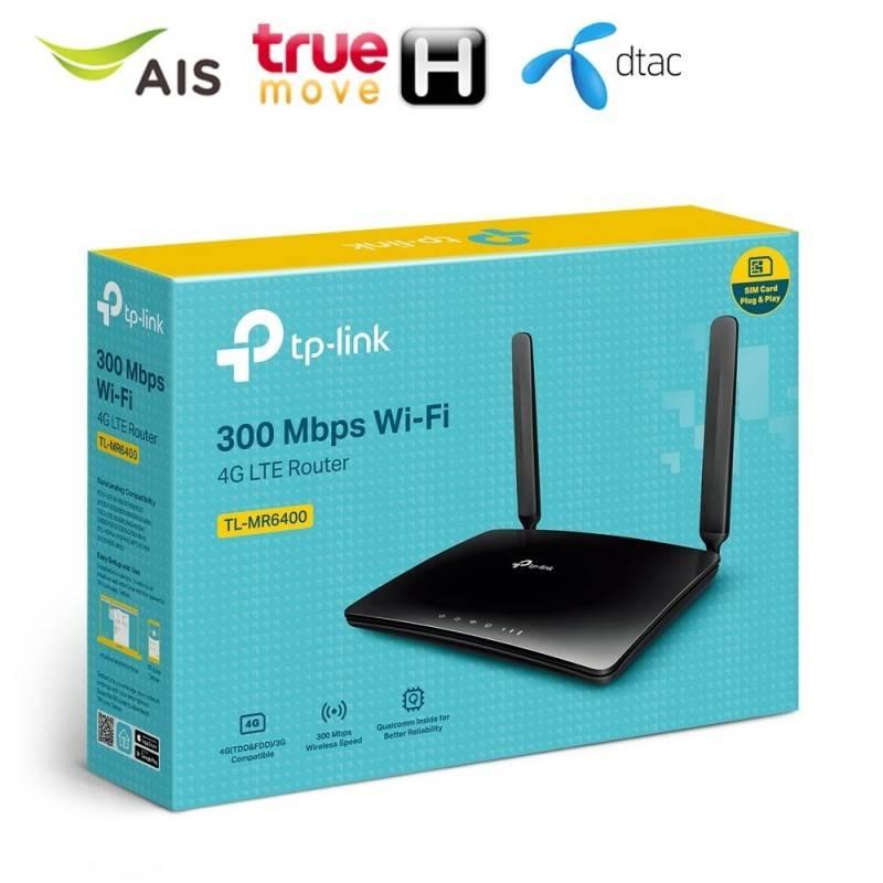 TP-Link TL-MR6400 4G LTE Router Wireless N 300Mbps แบบใส่ Sim รองรับเครือข่าย 4G LTE ทุกเครือข่าย Router/ Firewall/ VPN/ Load...
