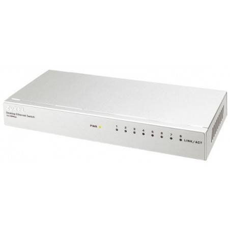 ZyXEL ES-108P Switch 8 Port   ความเร็ว 10/100 Mbps SOHO Palm size switch with autoMDIX + Internal Power Supply
