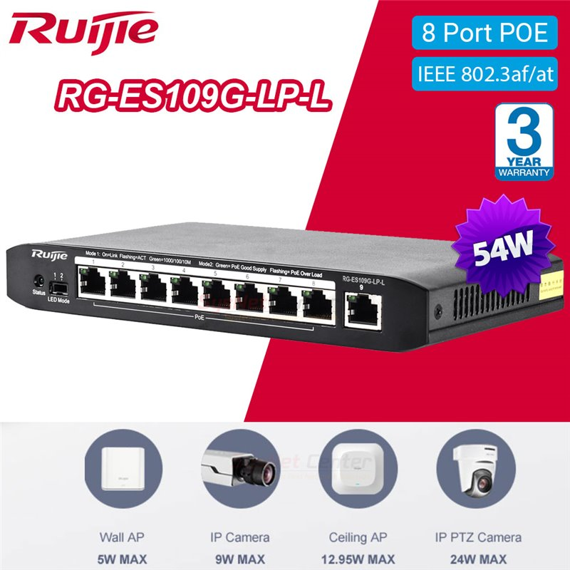 Ruijie Networks Ruijie RG-ES109G-LP-L UnManaged Gigabit POE Switch 8 Port, POE 54W