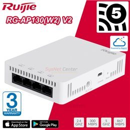 Ruijie RG-AP130(W2) V2 Wall Access Point AC Wave 2, 1.167Gbps, 4 Port Gigabit, Cloud Control