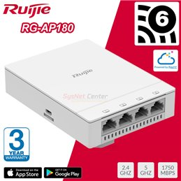 Ruijie Networks Ruijie RG-AP180 Wall Access Point AX Wi-Fi 6, 1.774Gbps, 5 Port Gigabit, Cloud Control