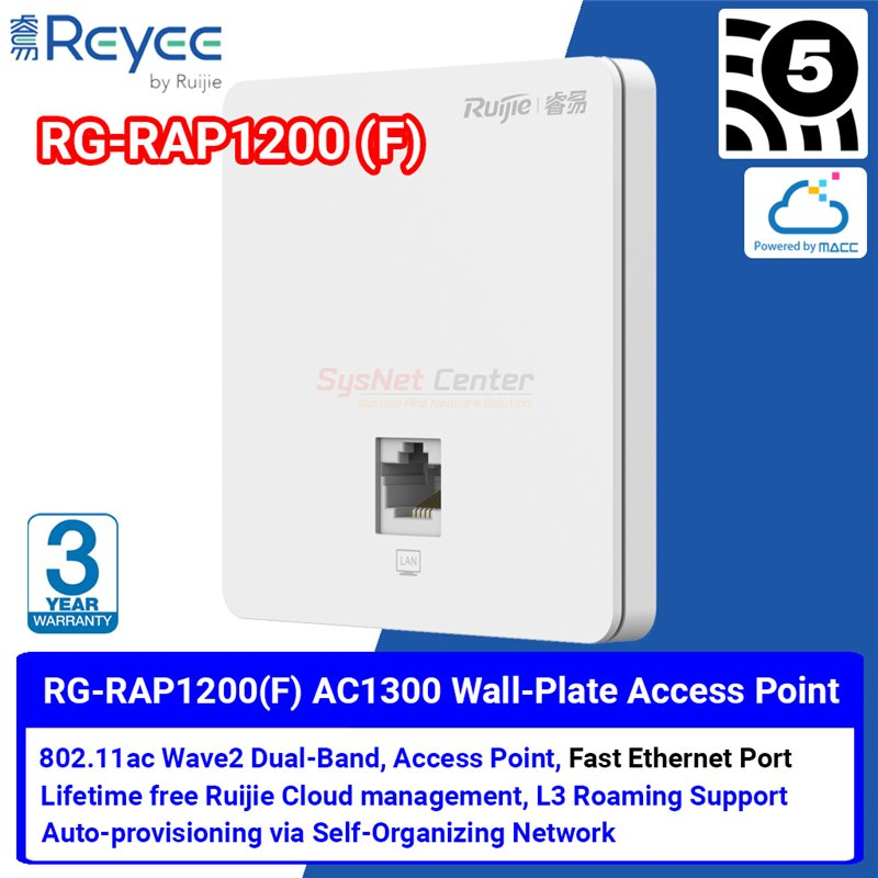 Ruijie Networks Reyee RG-RAP1200(F) Wall-Mountable Wireless Access Point Dual-Band Cloud Control