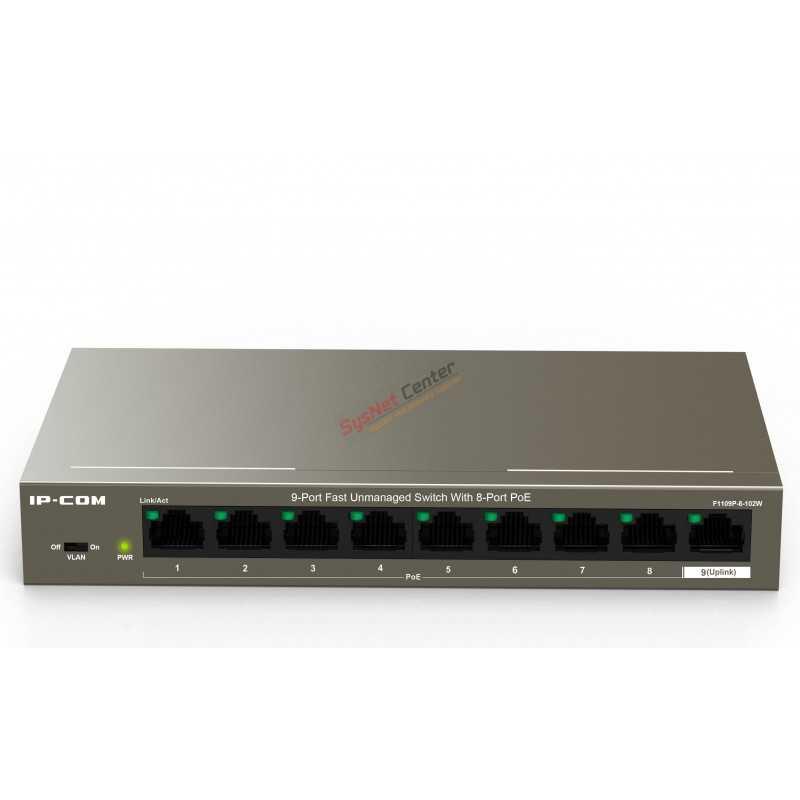 IP-COM F1109P-8-102W POE Switch 8 Port 100Mbps,Uplink 1 Port10/100 POE 802.3at 8 Port 102W