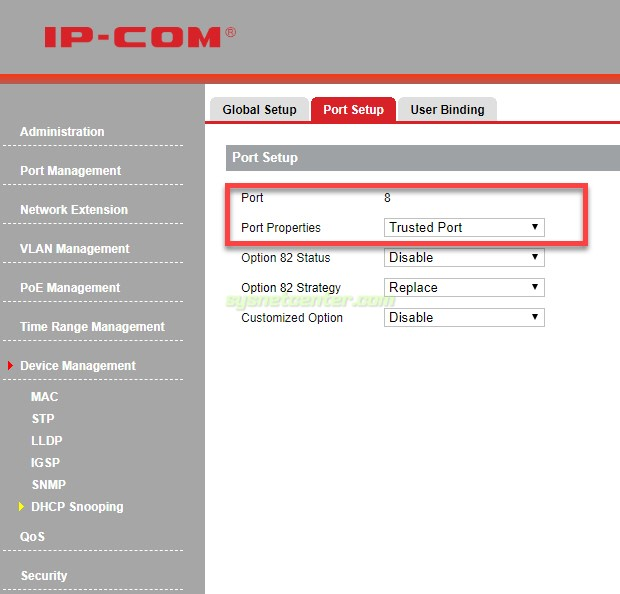 ip-com switch dhscp snooping